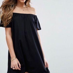 Off the shoulder black dress by ASOS
